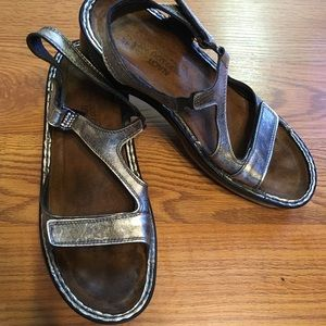 NAOT Dusty Silver Leather Wedge Sandals